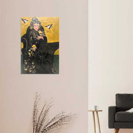 The brilliant yellow and shiny black bird with a pleasant song is a stunning complement to Gilda's velveteen long coat. Gilda and the Goldfinches encaustic has a rich depth, beautiful composition and exudes sublime happiness. Shown in an interior.