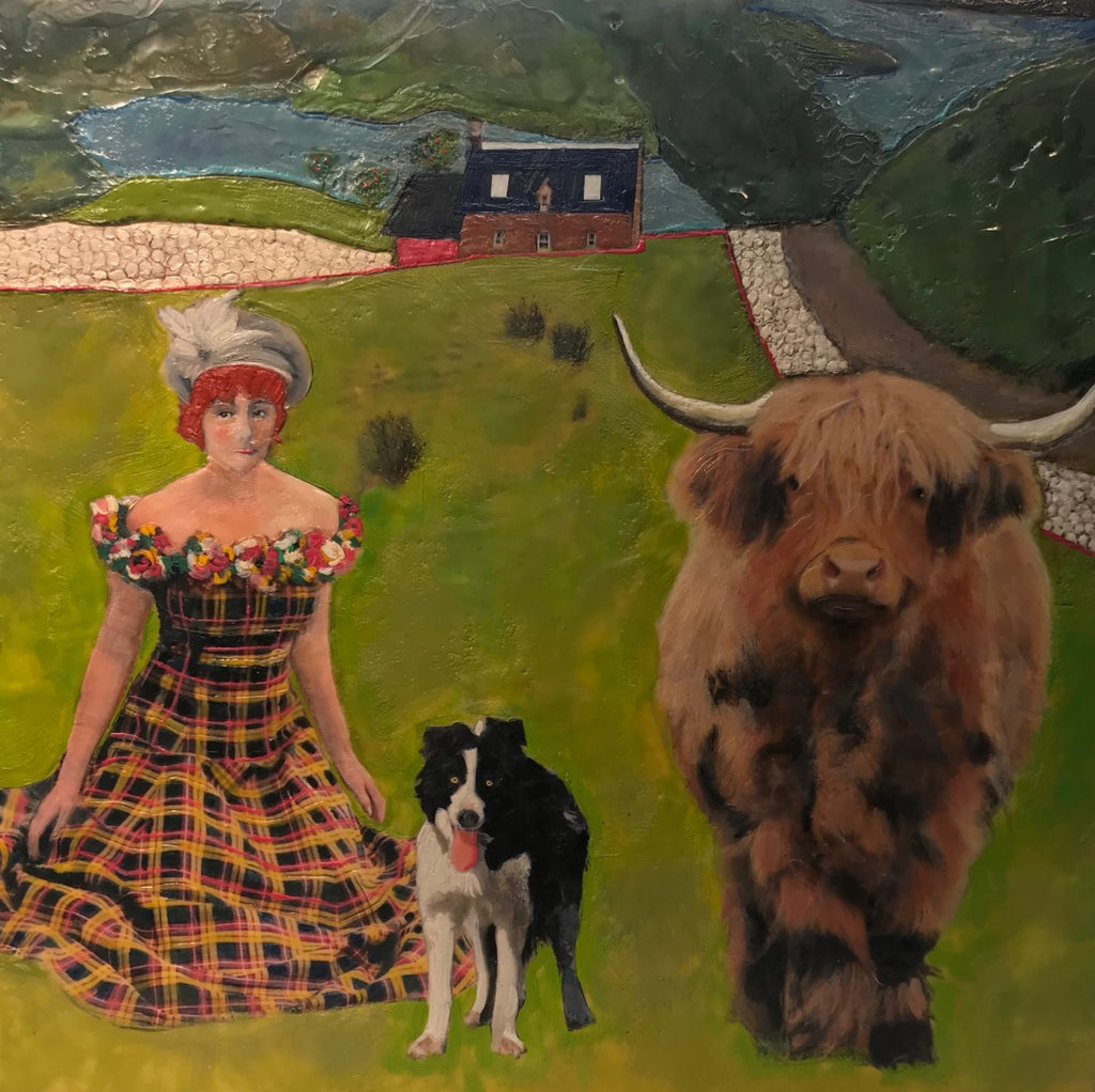 A proper play on all the lassies. A Scottish scene from Linda Benenati alive with a young sweetheart, a herding border collie and a shaggy-haired Highland cow.
