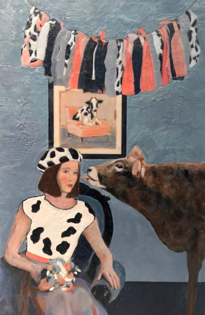 Animal prints are so du jour. We love Linda's Benenati's sense of humor at play in her Jersey Girls encaustic portrait within a portrait.