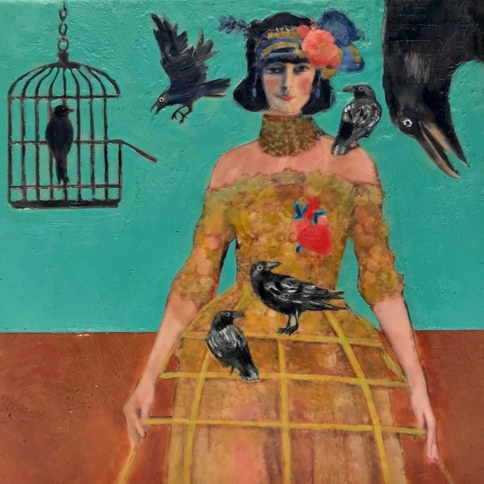 Both ravens and Magritte continue to have strong influence on Linda's work, seen here in her ode to Magritte's Le Coup Au Coeur, a painting featuring his iconic rose and reinterpreted here with beautiful context.