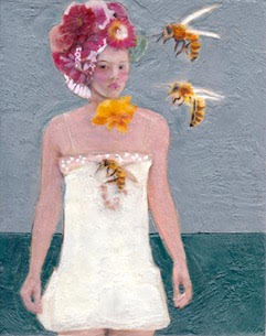 The ABC Girls are each named after a letter in the alphabet. Leila Bee, in a fabulous floral headdress, is one of Linda Benenati's über-chic fashionable female portraits.