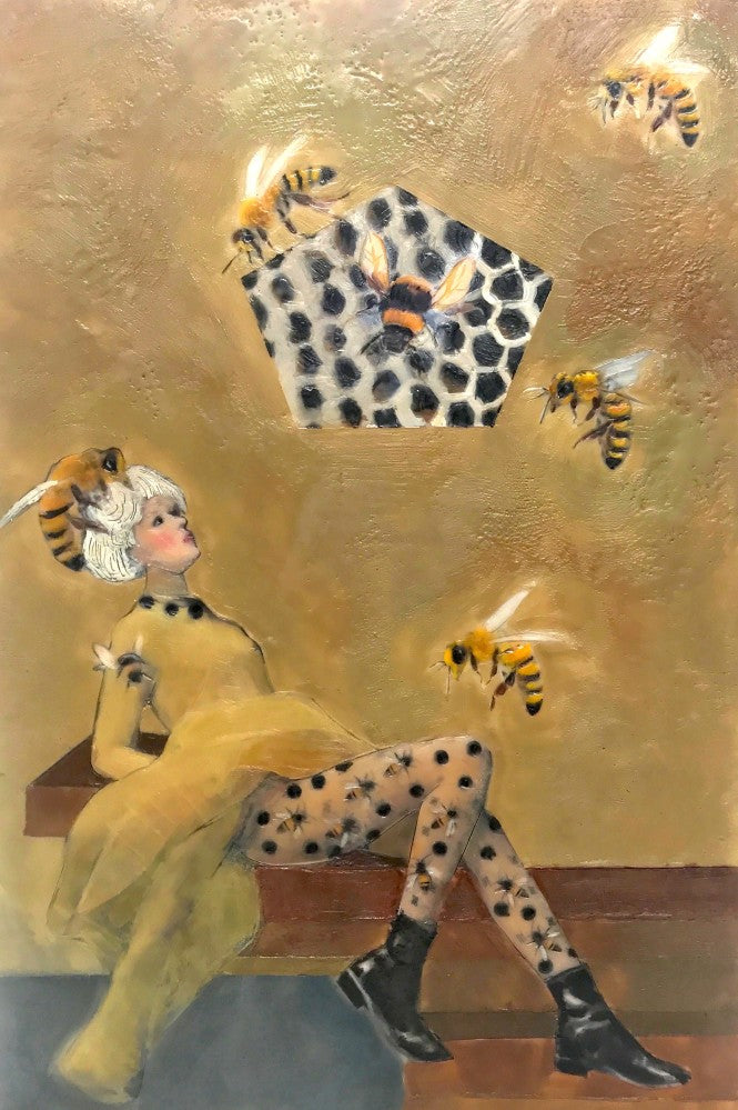 Bees are crucial to human life as we know it, given that they pollinate much of the food we depend on. They have also played starring roles in art and have strong influence on Linda's work, seen here in the fashionable One Step Bee Yond Encaustic.