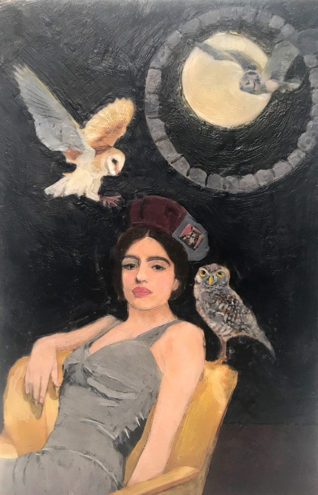 """Open your eyes to see past illusions,"" says the owl. We love this painting even more as we have an owl in our residential neighborhood and it's call of ""who"" is magical. This is Strangers in the Night (right side of first image), shown with Knights in White Satin."