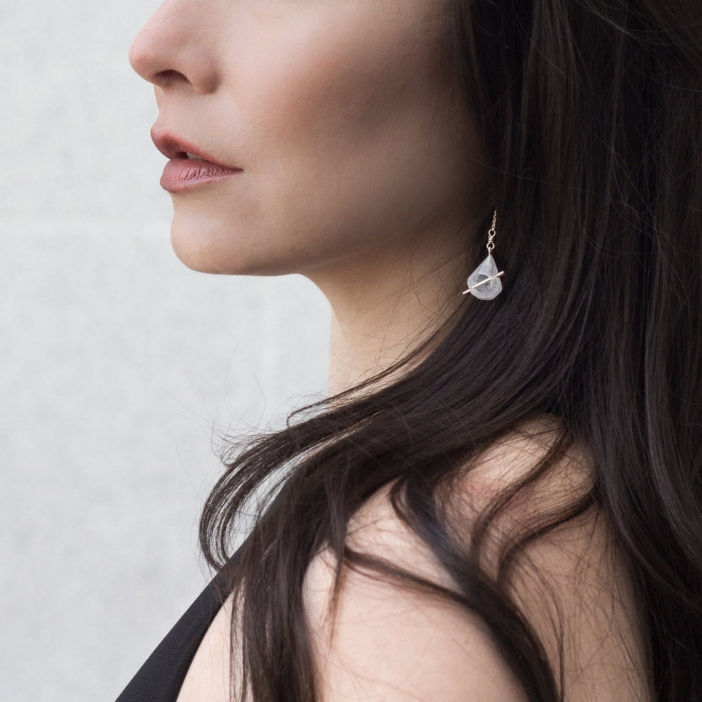 Supremely elegant statement earrings celebrate your inner iconoclast. These ultralight hand carved acrylic angular gems evoke vast glacial landscapes. Simultaneously vulnerable and defiant. These earrings by Olivia Shih will be your fave go to for everyday adornment!