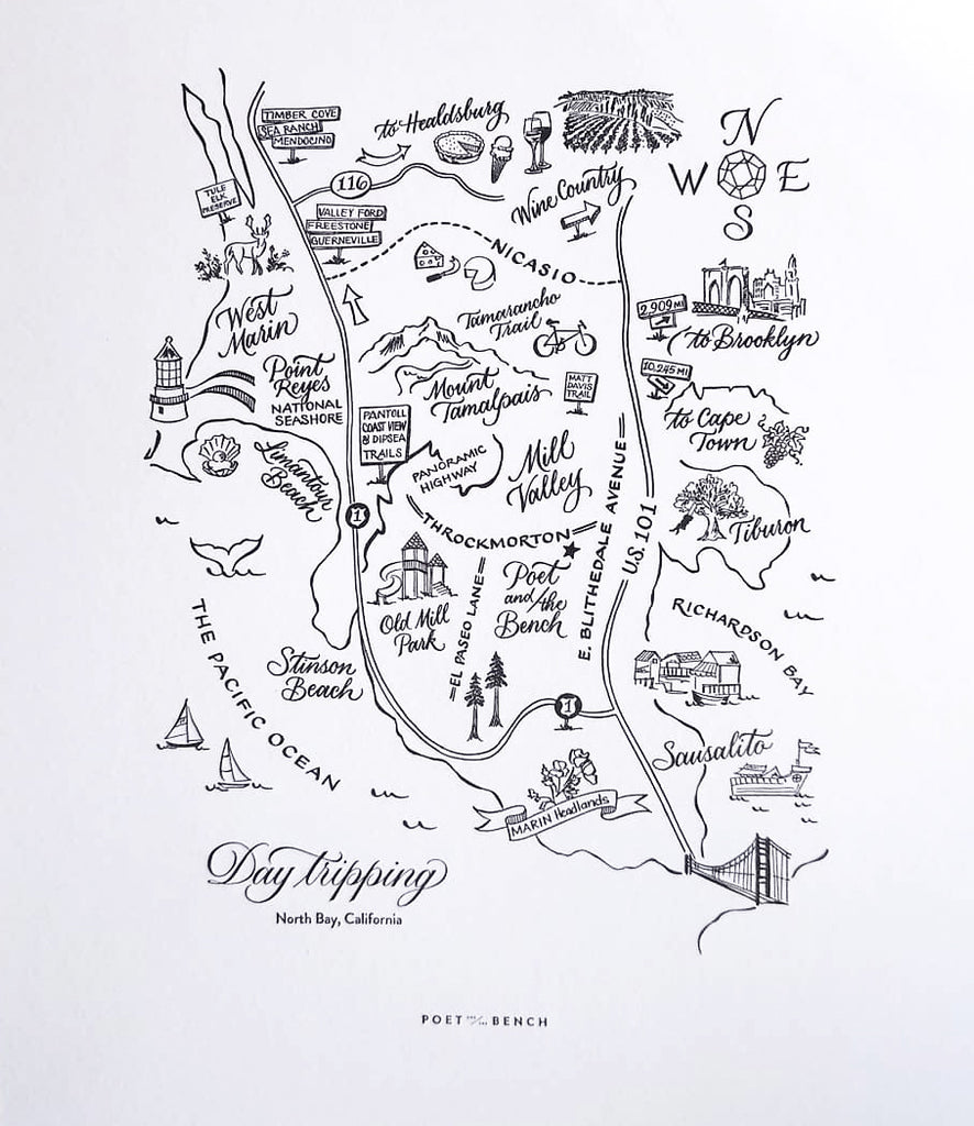 Our custom Day Tripping Map of the North Bay by Lettering Artist Sarah Hanna and Letterpress Printer Dependable Letterpress