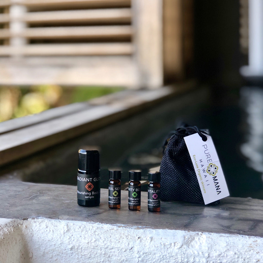 Sample kit includes a slightly larger 5ml vial of Radiant Glow nourishing body oil; and 3 dram-sized vials each of Soul Serum revitalizing face oil; Vitality C vitamin-rich eye serum; and Purity Boost pure moisture and protection.