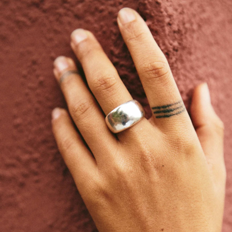 Flat domed Sterling Silver Roam Vintage Mira Ring