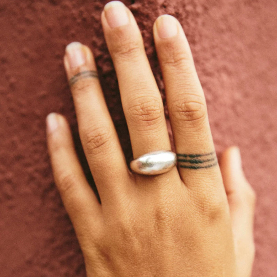 Small domed Serafina ring is inspired by modernist vintage sculptural jewelry and the modern telling of the thousands year old love story. Serafina is also gorgeous on its own and a stunning companion to Roam Vintage's Orfeo collection! Shown in Sterling Silver.