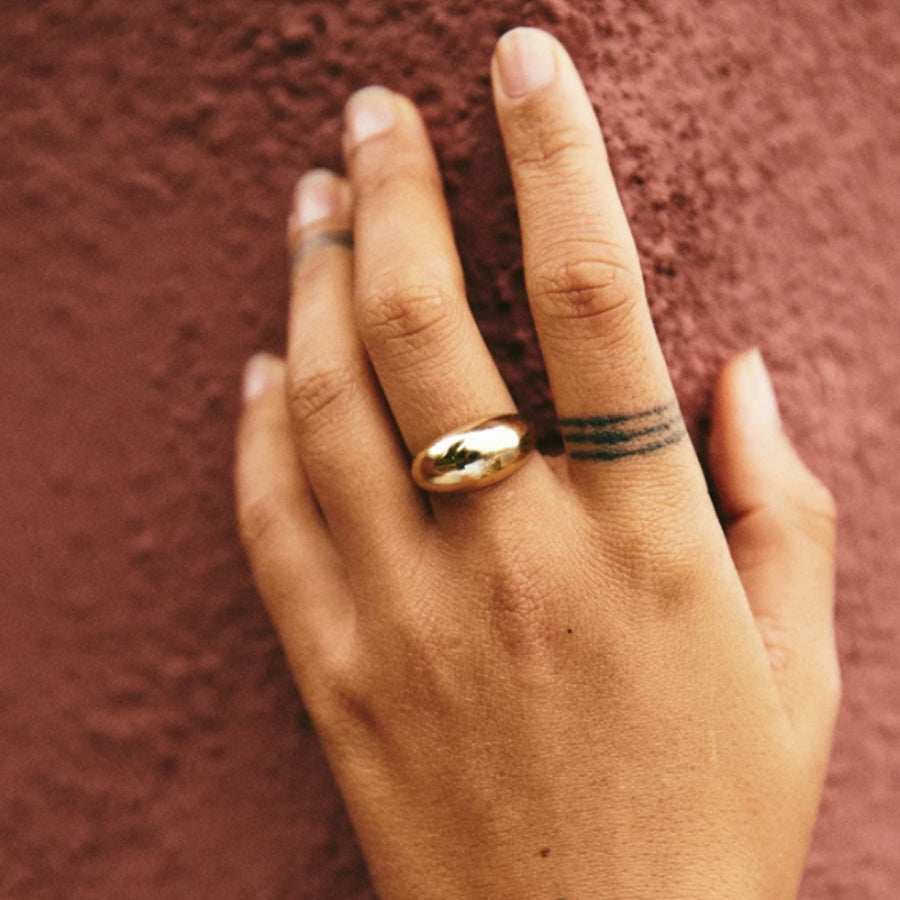 Small domed Serafina ring is inspired by modernist vintage sculptural jewelry and the modern telling of the thousands year old love story. Serafina is also gorgeous on its own and a stunning companion to Roam Vintage's Orfeo collection! Shown in Brass