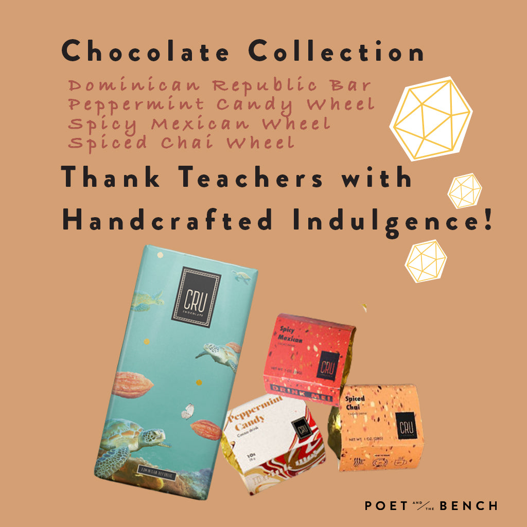 We've put together a selection of cacao chocolate bars and drinking chocolates to give your teacher a delicious escape.
