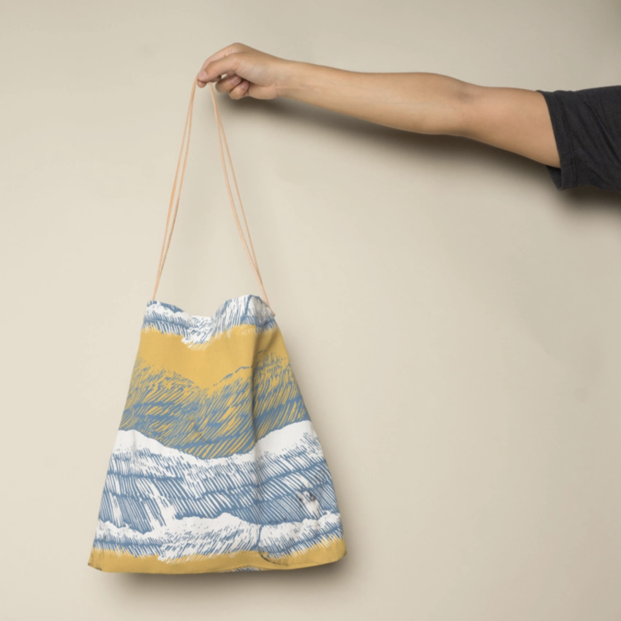 Carry the color of the seas and sun with you and save the planet... tote bags instead of plastic bags! Designed by Japanese fine artist and textile designer UG. Angel Island Sunrise