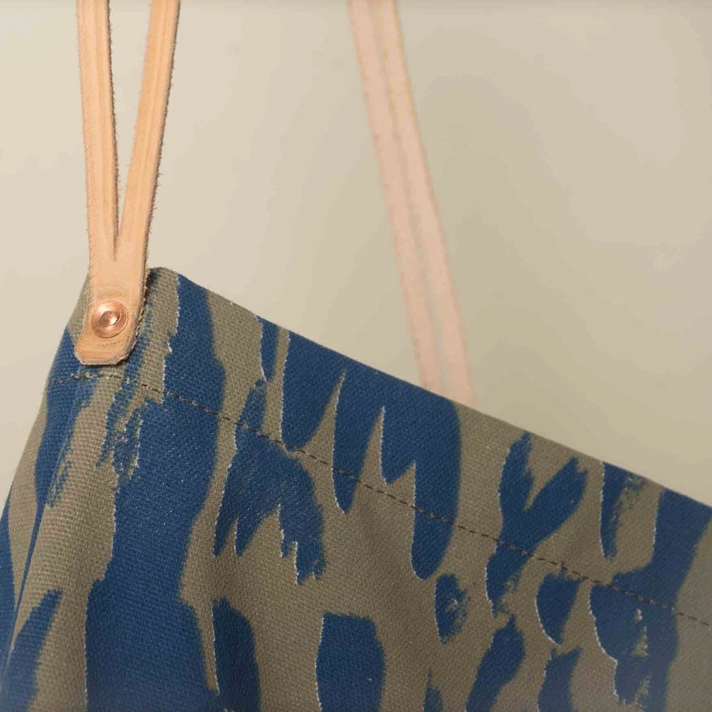 Carry the color of the seas and sun with you and save the planet... tote bags instead of plastic bags! Designed by Japanese fine artist and textile designer UG. Sonoko Soil Detail