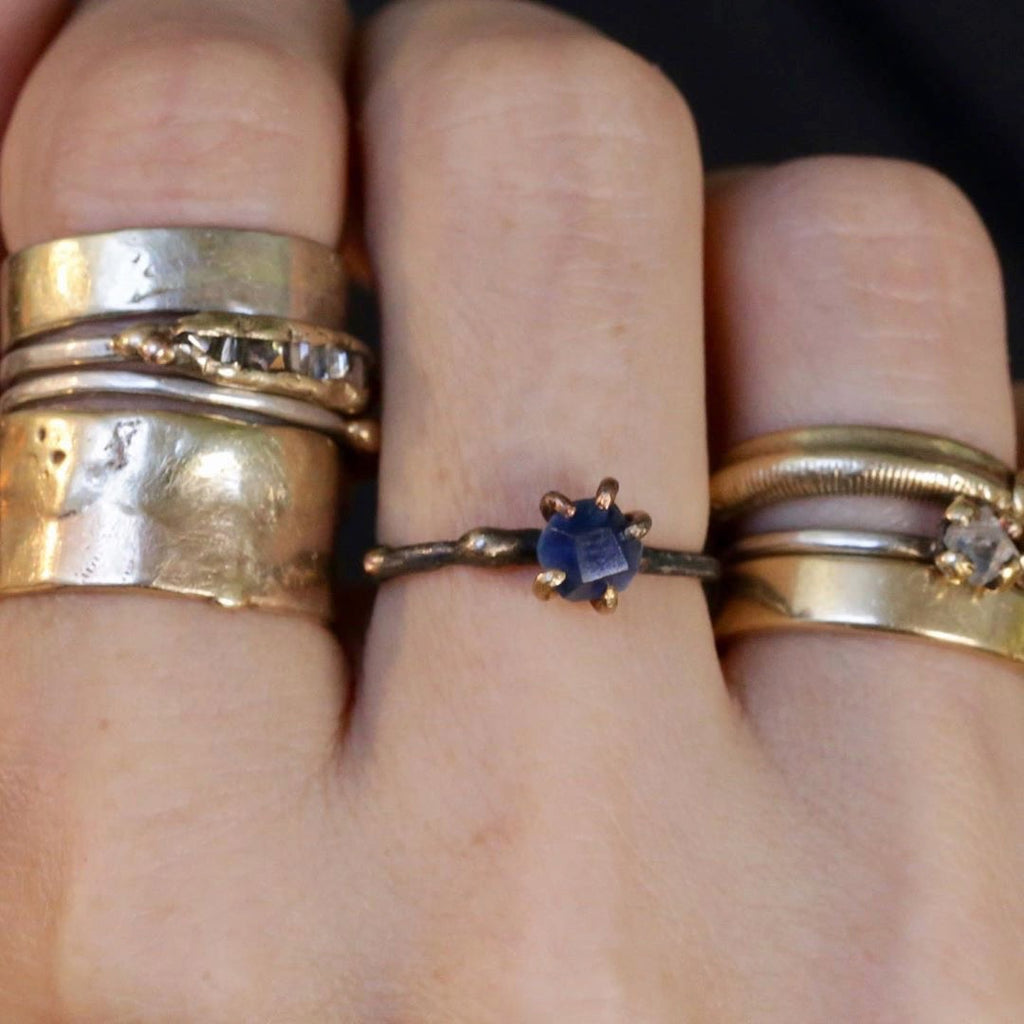 Rough sapphires come in as many gorgeous varieties of colors as in a rainbow. Stack this beauty to add edge to your ring party with Variance Objects gorgeous hand cut stones and signature mixed metal work.