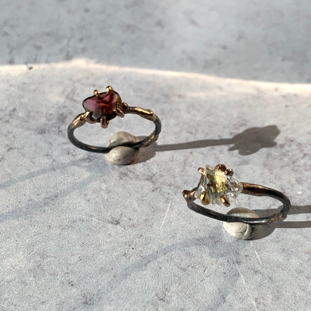 Variance Objects hand cuts and polishes their stones and sets them in their signature claw and mixed metal work. Pairs in the most stunningly sublime ways with other Variance Objects single stone rings and bands.
