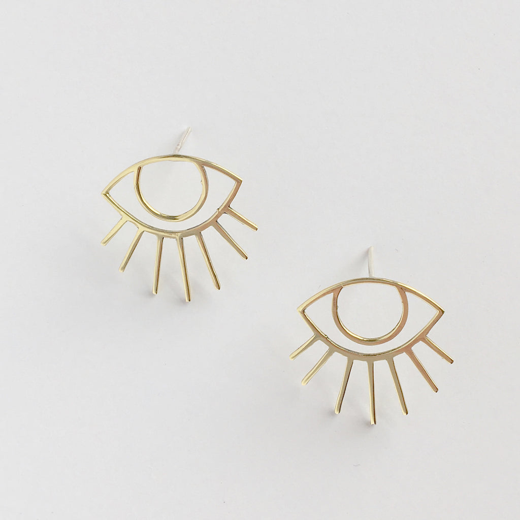 Iconography that celebrates the Golden Years. The Florence Eye earrings are flirty. A bold design that can be worn lashes up or down.