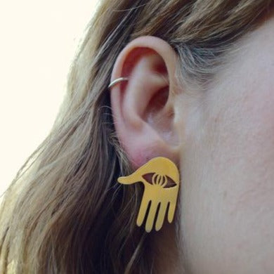 Yellow Jewellery founder and designer Jess Lea's Hamsa earrings.