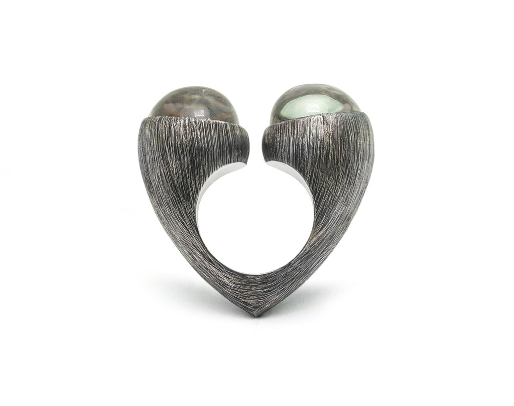 Mariella Pilato Crystal Heart Rings. Heart construction wraps around your finger with bold crystal domes on each peak, set in an etched and oxidized band. Side view.
