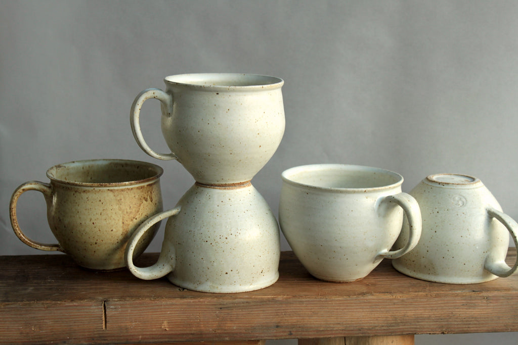 Wheel thrown large ceramic mugs in white glaze