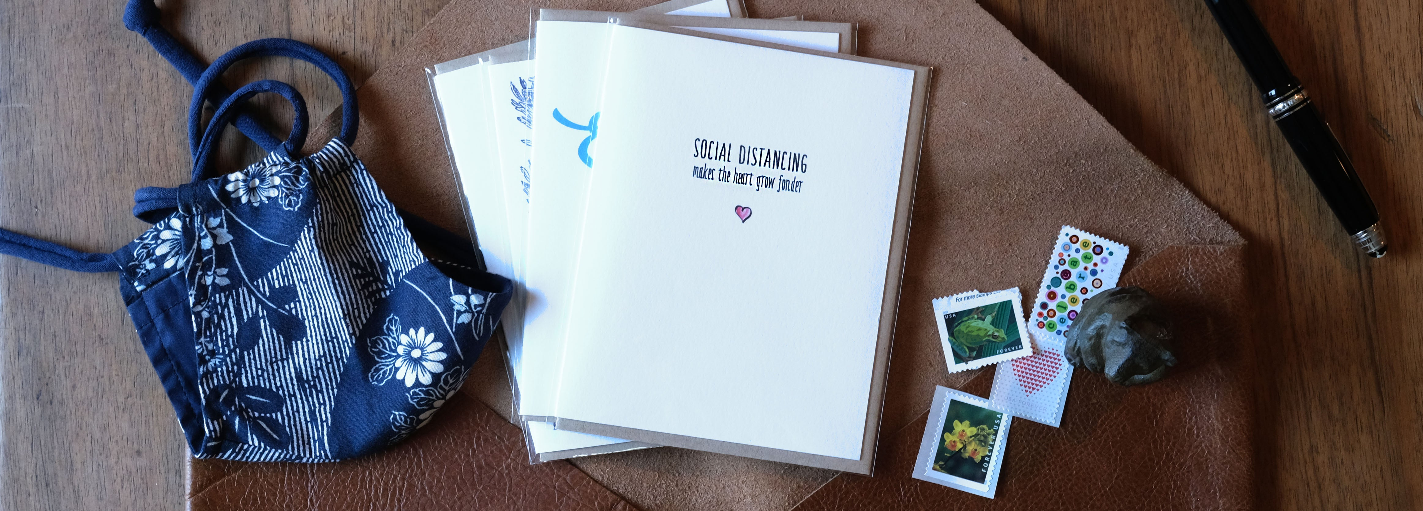 Greeting card subscription from above with mask