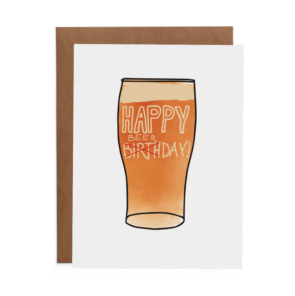 Happy Beerday on a pint with beer in the mug greeting card - Lost Art Stationery