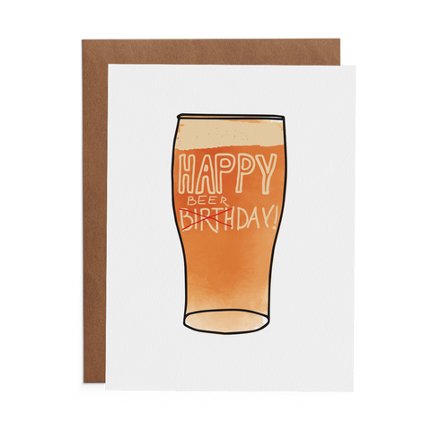 Happy Beerday Card - Lost Art Stationery
