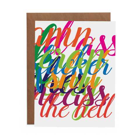 colorful script on belated birthday greeting card