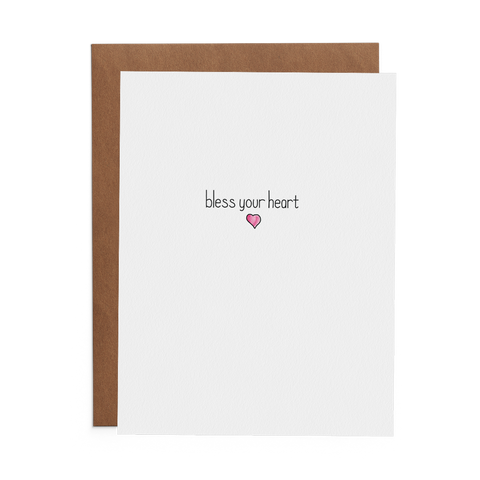 Bless Your Heart Greeting Card on Crane 100% Cotton Paper with Kraft Envelope