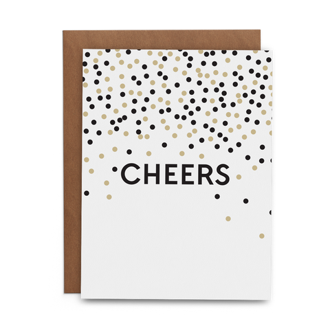 Cheers in all caps on a white background with black and gold circle confetti - Lost Art Stationery