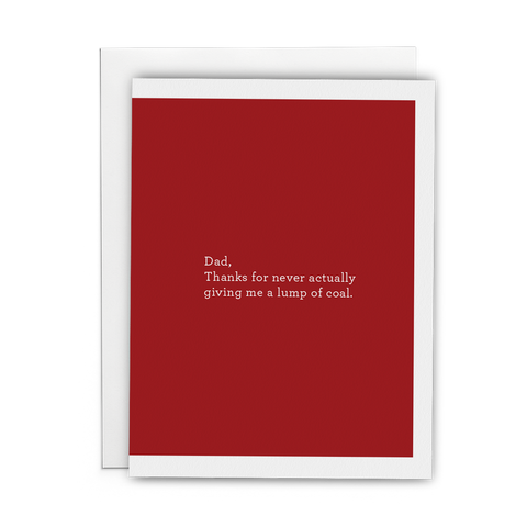 Christmas Greeting Card for Dad red with white text