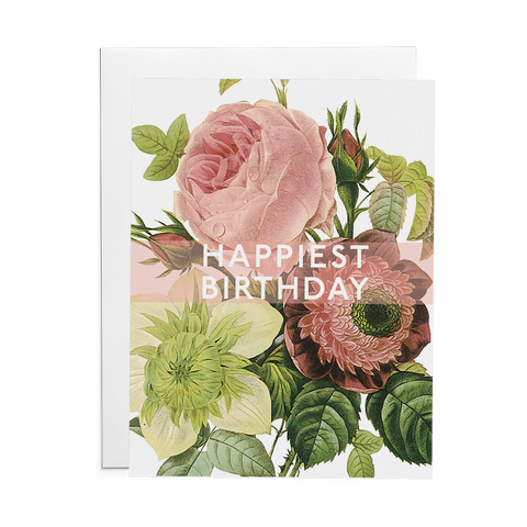 Happiest Birthday Greeting Card (Flowers) - Lost Art Stationery