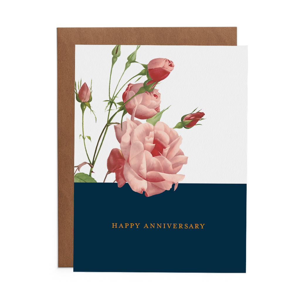 Happy Anniversary Greeting Card with pink roses over blue rectangle. Happy Anniversary text written in yellow type.