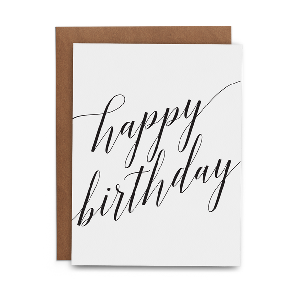 Happy Birthday Black Script - Lost Art Stationery