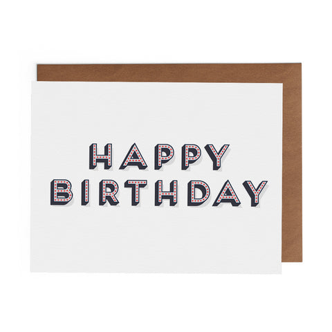 Happy Birthday Greeting Card on two lines blue letters with red dots