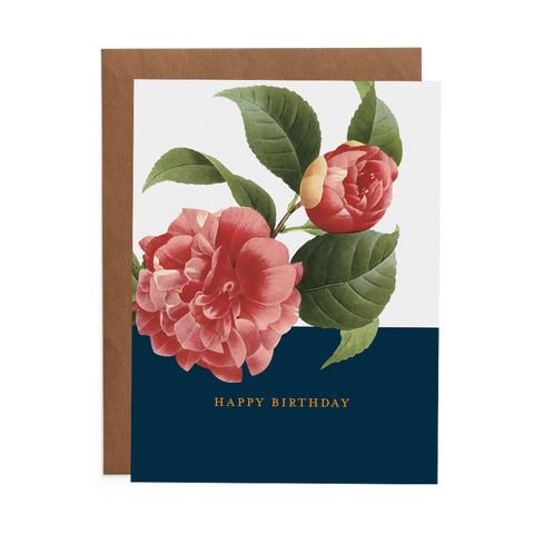 Happy Birthday Greeting Card with Pink Peonies