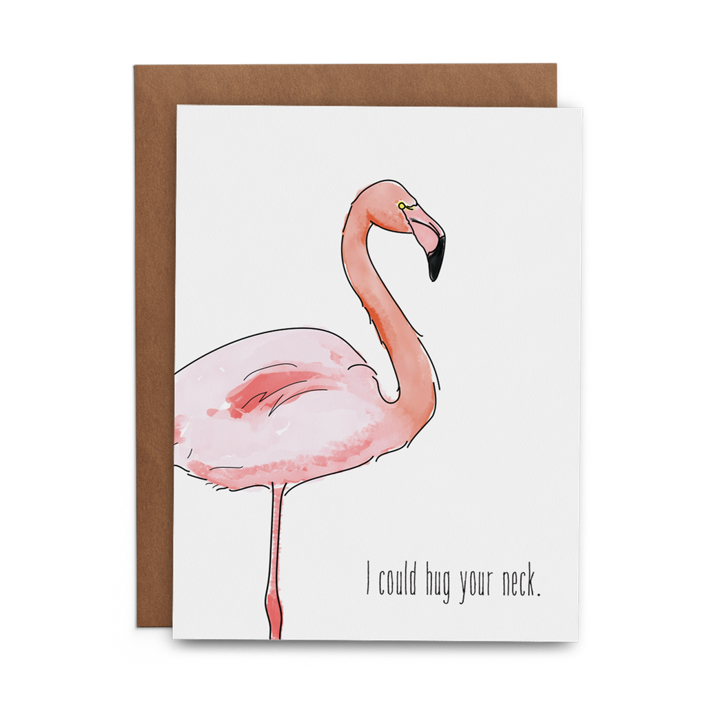 I Could Hug Your Neck Flamingo Thank You Greeting Card - Lost Art Stationery