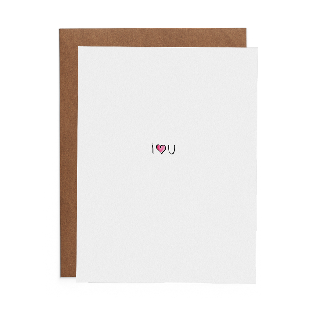 I heart you greeting card on Crane 100% cotton paper with kraft envelope