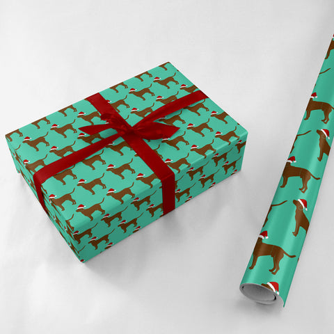 Lab in Santa Hat Gift Wrap - Lost Art Stationery