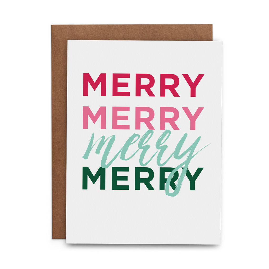 Merry Merry Merry Merry Christmas Card - Lost Art Stationery