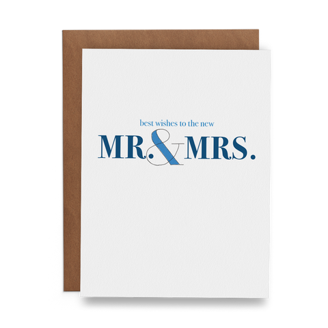 Best Wishes to the New Mr. & Mrs. Wedding Greeting Card - Lost Art Stationery