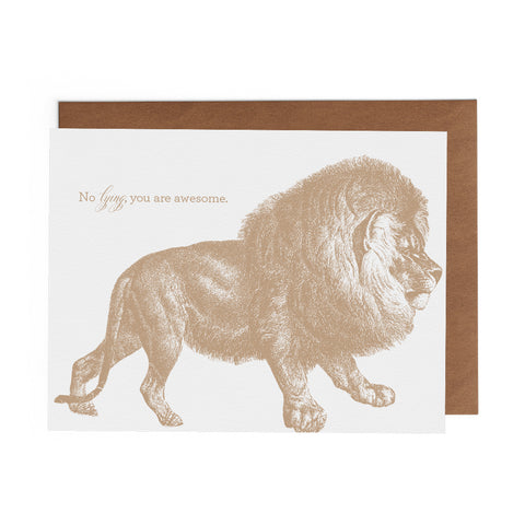 Historic engraving of lion in gold on 100% cotton greeting card