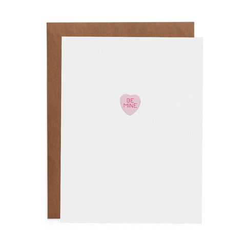 Pink Conversation Heart Valentine's Day Greeting Card with message Be Mine.