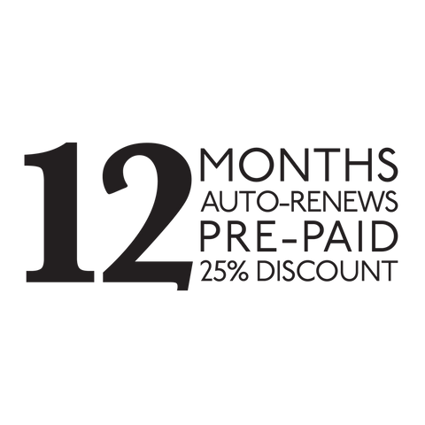 12-Month Pre-paid Subscription, Auto-Renews