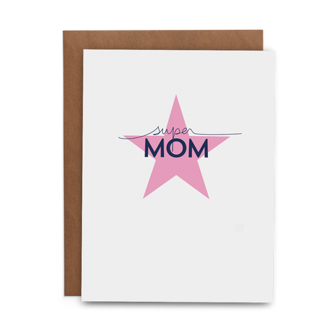 Super Mom in Navy on Pink Star Mother's Day Greeting Card