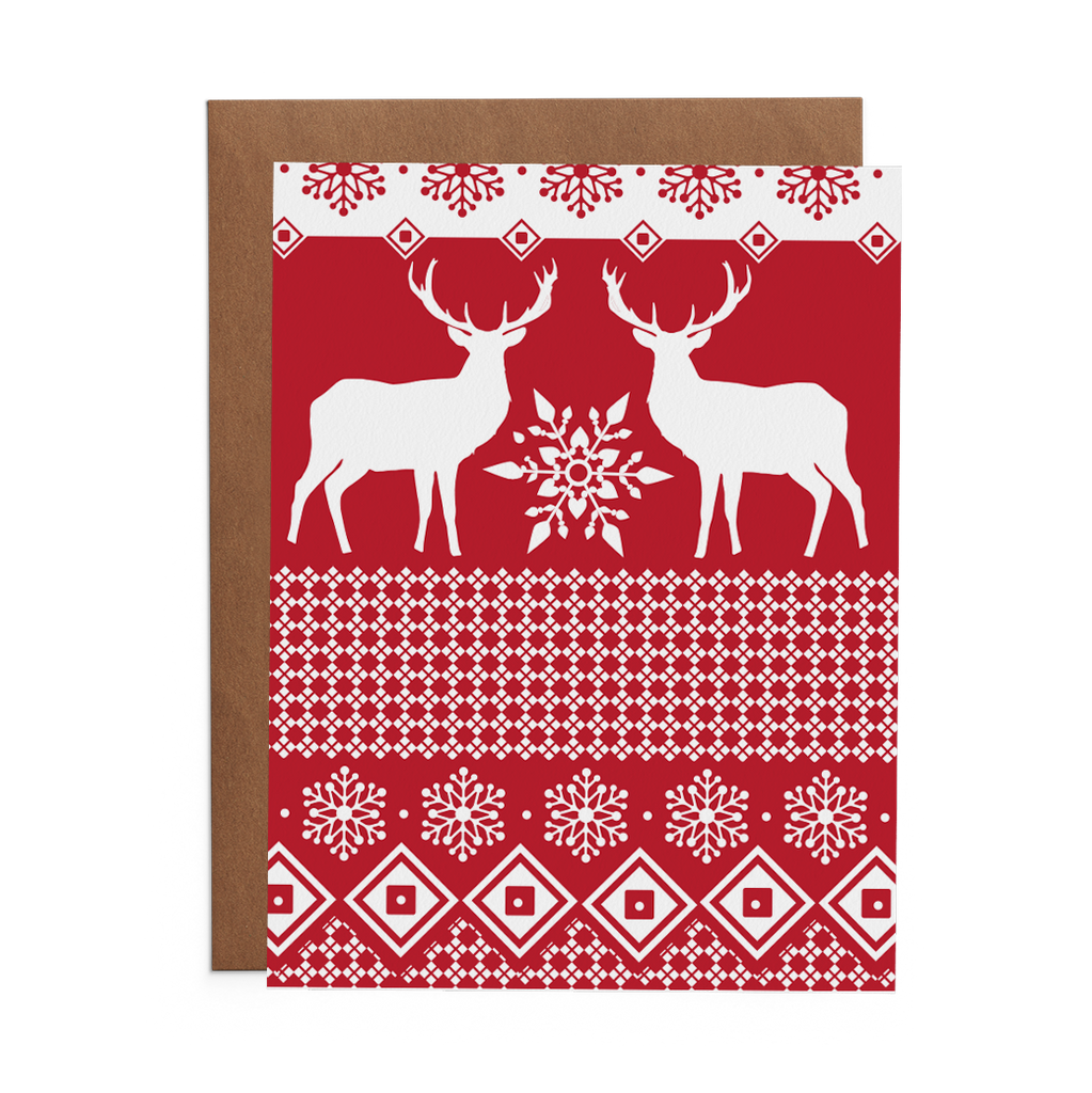 Red Norwegian Sweater Winter Holiday Greeting Card - Lost Art Stationery
