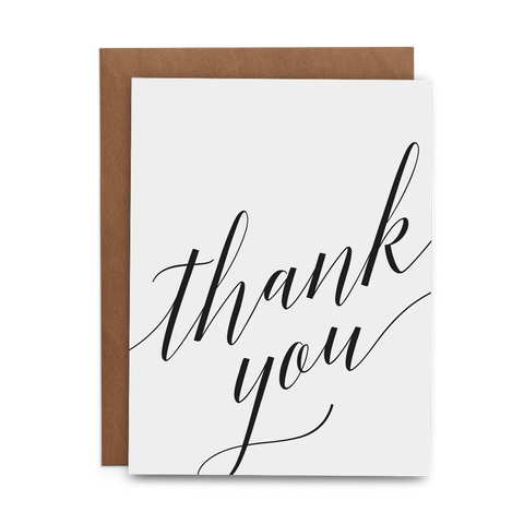 Thank you in script on white card with kraft envelope - Lost Art Stationery