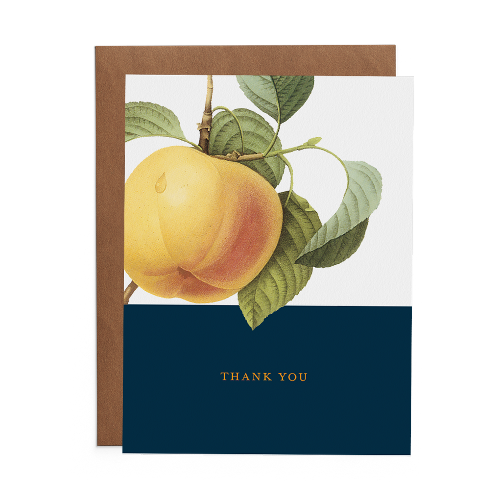 Thank You Greeting Card with Peach over blue rectangle. Thank you text written in yellow type.