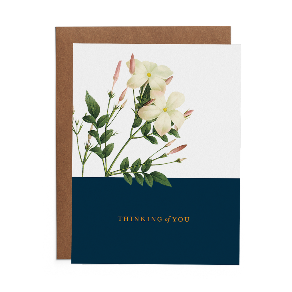 Thinking of You Greeting Card with White Flowers