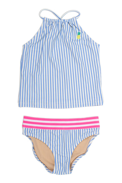 Two Piece Tankini in French Blue Stripe Halter Neckline by Shade Critters