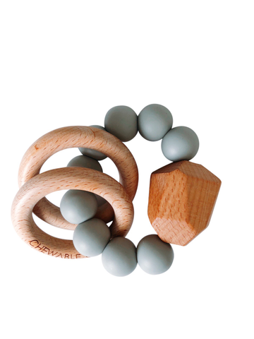 Hayes Silicone and Wood Teether Ring in Grey by Chewable Charm