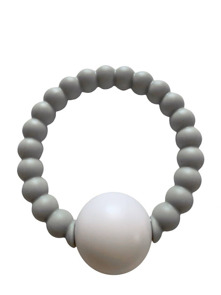 Teether Toy Rattle in Grey by Chewable Charm